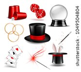 magician symbol set with black... | Shutterstock .eps vector #1049504804