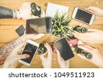 students group having addicted...   Shutterstock . vector #1049511923