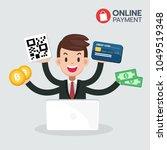 happy businessman sit in front...   Shutterstock .eps vector #1049519348