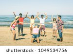 multiracial happy friends group ...   Shutterstock . vector #1049534756