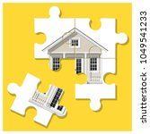dream house concept with puzzle ... | Shutterstock .eps vector #1049541233