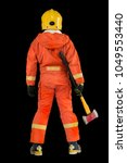 fireman in orange uniform hold... | Shutterstock . vector #1049553440