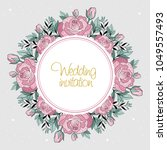 wedding invitation with flowers ... | Shutterstock .eps vector #1049557493