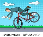 man is falling off bicycle pop... | Shutterstock .eps vector #1049557910