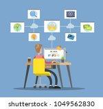 man surfing the internet.... | Shutterstock .eps vector #1049562830