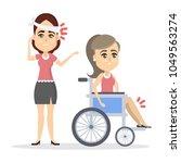 women with broken body parts in ... | Shutterstock .eps vector #1049563274