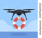quadcopter with life saver ring ... | Shutterstock .eps vector #1049563310