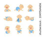 baby boy set. beautiful baby in ... | Shutterstock .eps vector #1049564606