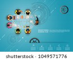 business meeting and... | Shutterstock .eps vector #1049571776
