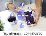 mentoring on the virtual screen.... | Shutterstock . vector #1049573870