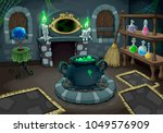 the witch room. vector cartoon... | Shutterstock .eps vector #1049576909