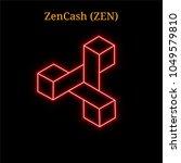 red neon zencash  zen ... | Shutterstock .eps vector #1049579810