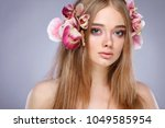 beautiful girl  isolated on a... | Shutterstock . vector #1049585954