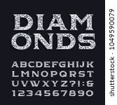 diamond alphabet font. luxury... | Shutterstock .eps vector #1049590079