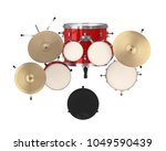 Red Drum Kit Isolated  Top Vie...