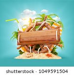 wooden helm with a blank wooden ... | Shutterstock . vector #1049591504