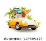 funny retro car with surfboard  ... | Shutterstock . vector #1049591534