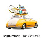 funny retro car with laggage ... | Shutterstock . vector #1049591540