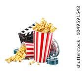 popcorn  cinema reel ... | Shutterstock . vector #1049591543