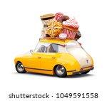 cute fantastic retro car with...   Shutterstock . vector #1049591558