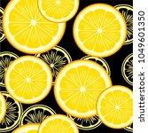 seamless pattern with lemons on ... | Shutterstock .eps vector #1049601350