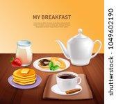 breakfast realistic background...   Shutterstock .eps vector #1049602190