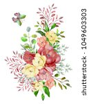 watercolor drawing of a branch... | Shutterstock . vector #1049603303