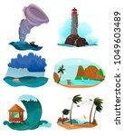 seaside landscapes set with... | Shutterstock .eps vector #1049603489