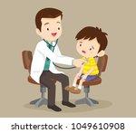 doctor listening to chest of... | Shutterstock .eps vector #1049610908