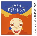 happy birthday card with red...   Shutterstock .eps vector #1049611883