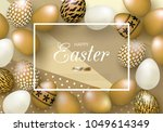 happy easter background with... | Shutterstock .eps vector #1049614349