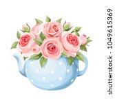 vector bouquet of pink english... | Shutterstock .eps vector #1049615369