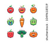 set of cute smiley fruits and... | Shutterstock .eps vector #1049618519