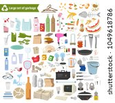 large set of garbage on white... | Shutterstock .eps vector #1049618786