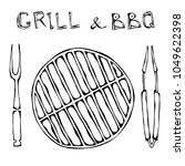 grill and bbq empty. picnic and ... | Shutterstock .eps vector #1049622398