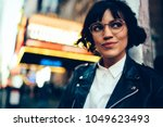 pretty stylish hipster girl... | Shutterstock . vector #1049623493