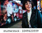 cheerful hipster girl in...   Shutterstock . vector #1049623559