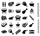 barbecue icons. set of 25... | Shutterstock .eps vector #1049624240