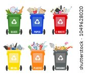 set of colorful garbage cans...   Shutterstock .eps vector #1049628020