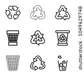 reuse icons. set of 9 editable... | Shutterstock .eps vector #1049629748