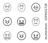 grumpy icons. set of 9 editable ... | Shutterstock .eps vector #1049631728