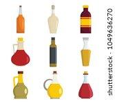 vinegar bottle icons set. flat... | Shutterstock .eps vector #1049636270