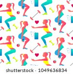 woman fitness seamless pattern. ... | Shutterstock .eps vector #1049636834