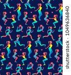woman fitness seamless pattern. ... | Shutterstock .eps vector #1049636840