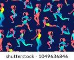 woman fitness seamless pattern. ... | Shutterstock .eps vector #1049636846