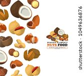 nuts and seeds cover. flat... | Shutterstock .eps vector #1049636876