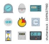 kitchen timer icons set. flat... | Shutterstock .eps vector #1049637980