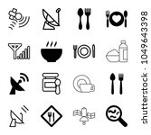dish icons. set of 16 editable... | Shutterstock .eps vector #1049643398