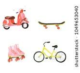 watercolor summer transport set | Shutterstock . vector #1049653040