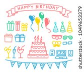 happy birthday elements in... | Shutterstock .eps vector #1049653379